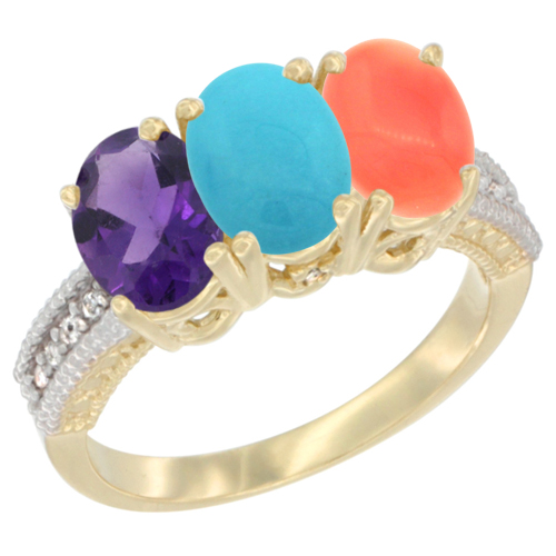 14K Yellow Gold Natural Amethyst, Turquoise & Coral Ring 3-Stone 7x5 mm Oval Diamond Accent, sizes 5 - 10