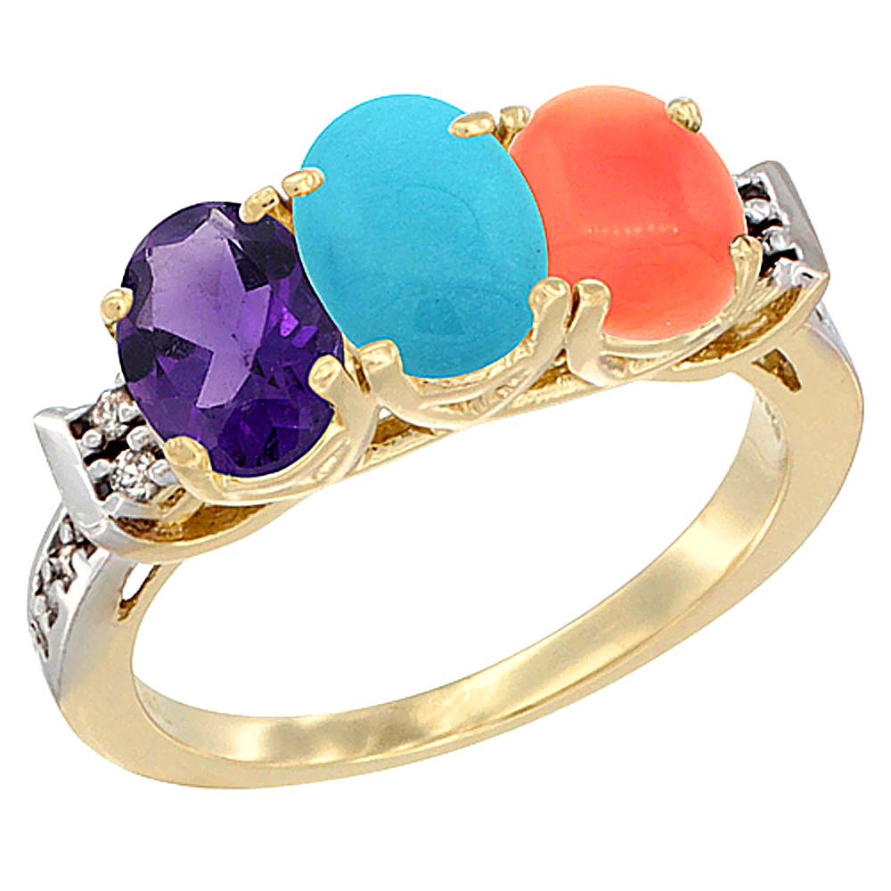 10K Yellow Gold Natural Amethyst, Turquoise & Coral Ring 3-Stone Oval 7x5 mm Diamond Accent, sizes 5 - 10