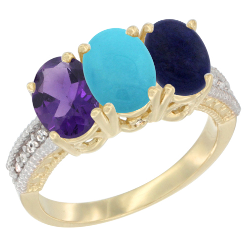 14K Yellow Gold Natural Amethyst, Turquoise & Lapis Ring 3-Stone 7x5 mm Oval Diamond Accent, sizes 5 - 10