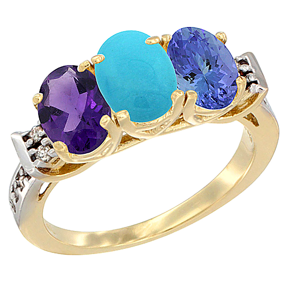 10K Yellow Gold Natural Amethyst, Turquoise & Tanzanite Ring 3-Stone Oval 7x5 mm Diamond Accent, sizes 5 - 10