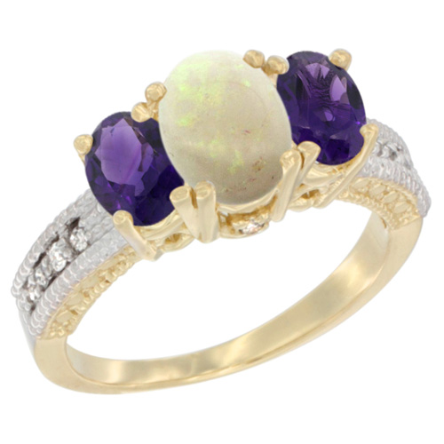 10K Yellow Gold Diamond Natural Opal Ring Oval 3-stone with Amethyst, sizes 5 - 10
