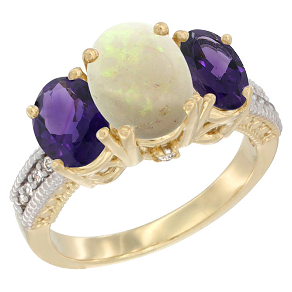 10K Yellow Gold Natural Opal Ring Ladies 3-Stone 8x6 Oval with Amethyst Sides Diamond Accent, sizes 5 - 10