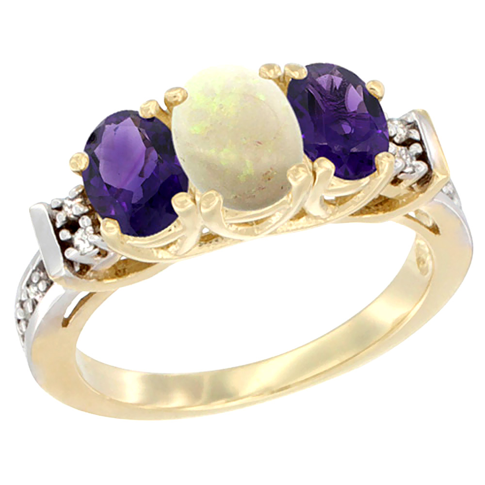 10K Yellow Gold Natural Opal & Amethyst Ring 3-Stone Oval Diamond Accent