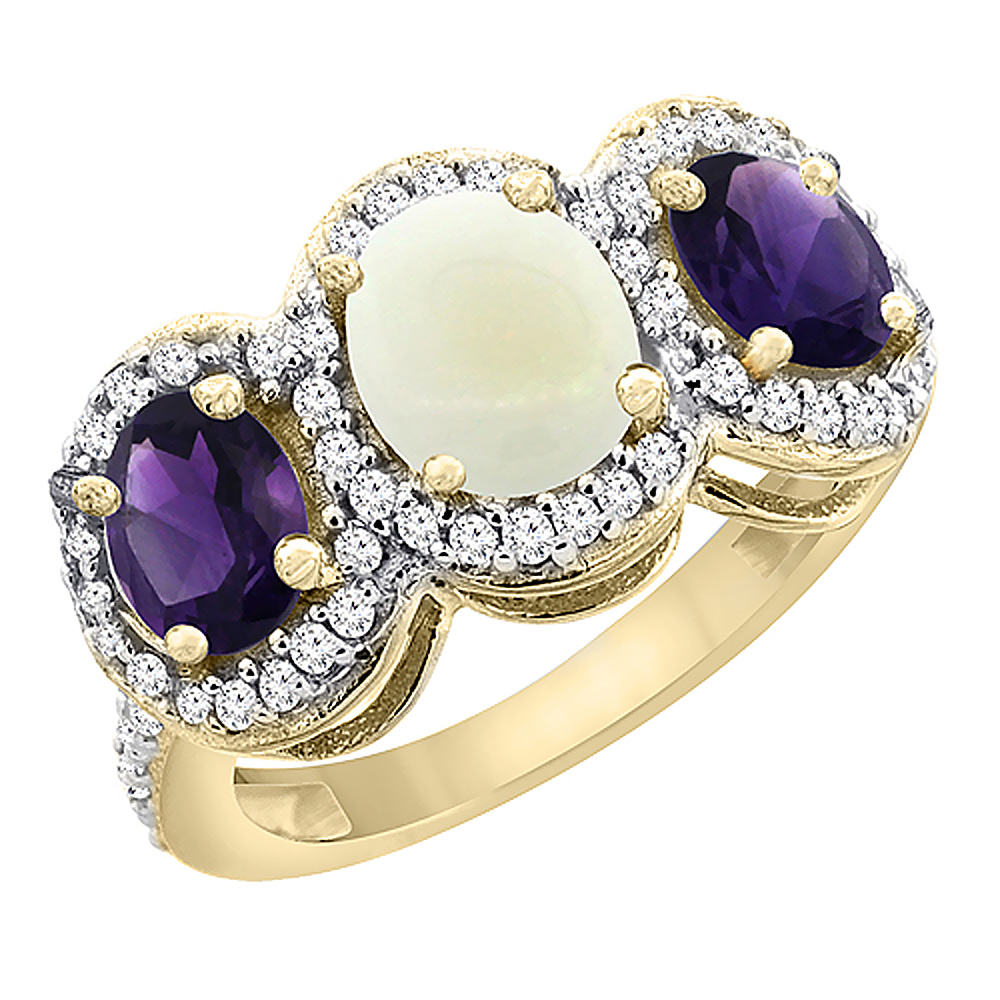 10K Yellow Gold Natural Opal & Amethyst 3-Stone Ring Oval Diamond Accent, sizes 5 - 10