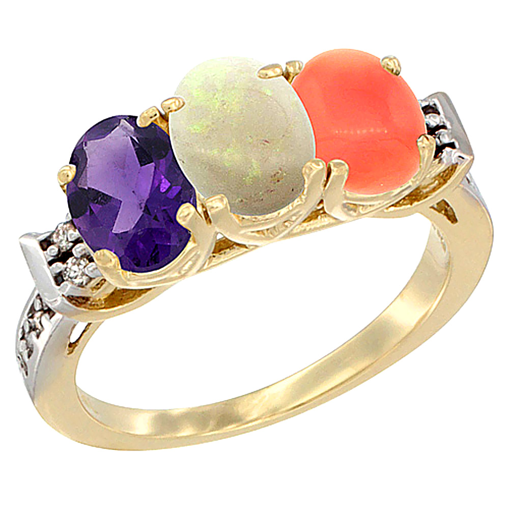 10K Yellow Gold Natural Amethyst, Opal & Coral Ring 3-Stone Oval 7x5 mm Diamond Accent, sizes 5 - 10
