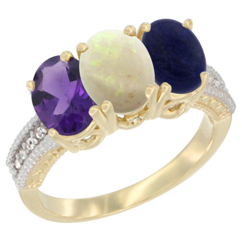 10K Yellow Gold Diamond Natural Amethyst, Opal & Lapis Ring Oval 3-Stone 7x5 mm,sizes 5-10