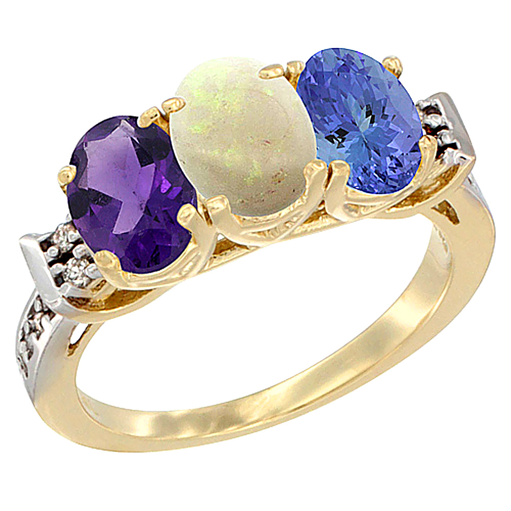 10K Yellow Gold Natural Amethyst, Opal & Tanzanite Ring 3-Stone Oval 7x5 mm Diamond Accent, sizes 5 - 10