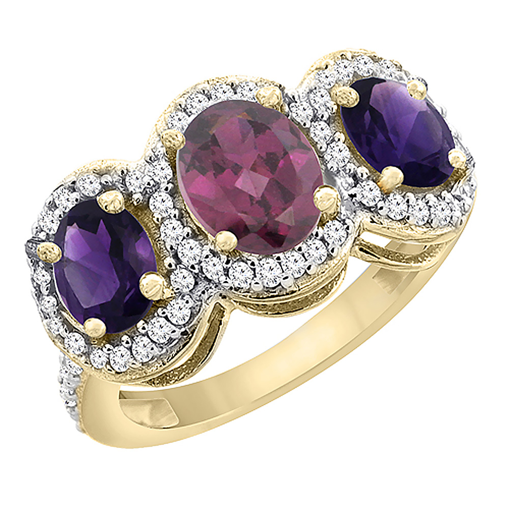 14K Yellow Gold Natural Rhodolite & Amethyst 3-Stone Ring Oval Diamond Accent, sizes 5 - 10