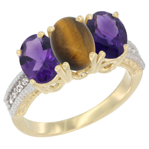14K Yellow Gold Natural Tiger Eye & Amethyst Ring 3-Stone 7x5 mm Oval Diamond Accent, sizes 5 - 10