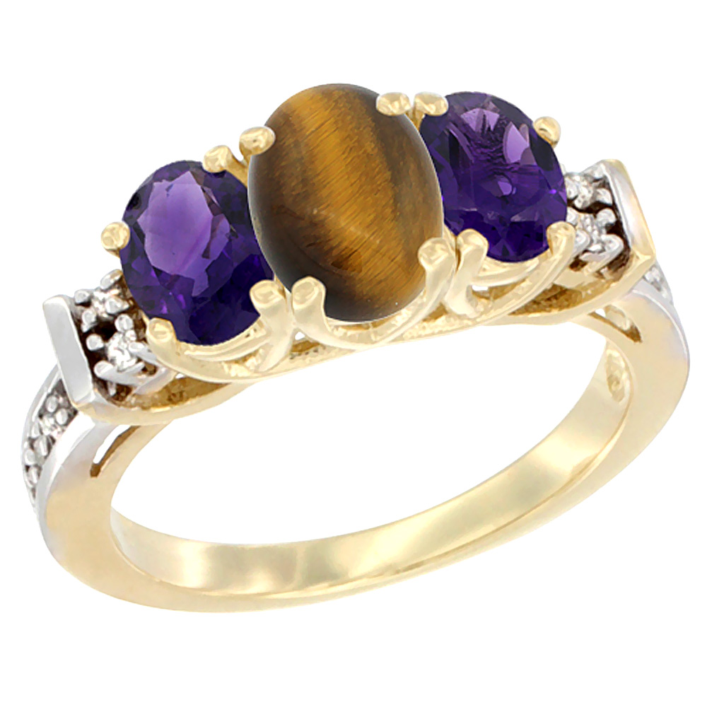 14K Yellow Gold Natural Tiger Eye & Amethyst Ring 3-Stone Oval Diamond Accent