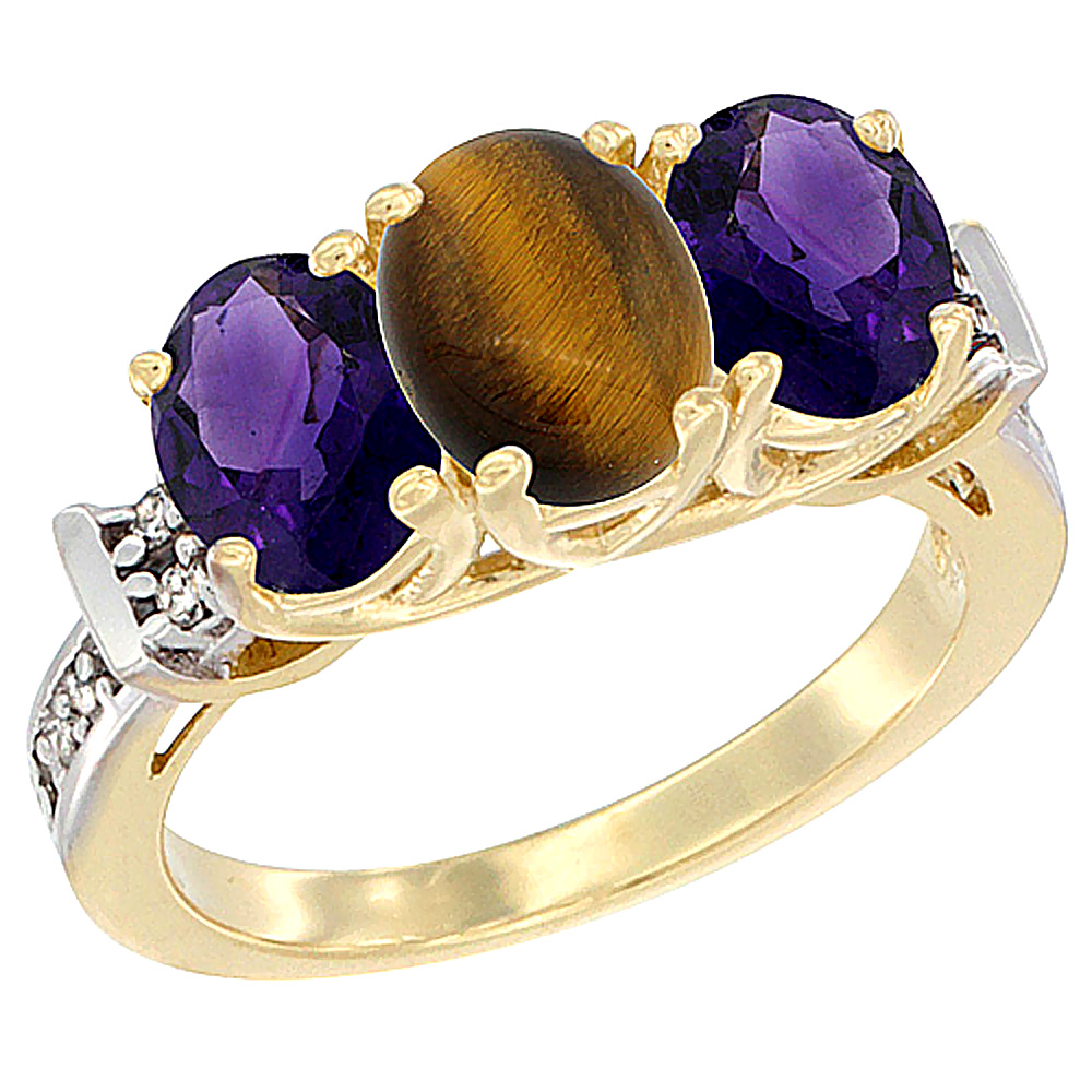 14K Yellow Gold Natural Tiger Eye & Amethyst Sides Ring 3-Stone Oval Diamond Accent, sizes 5 - 10