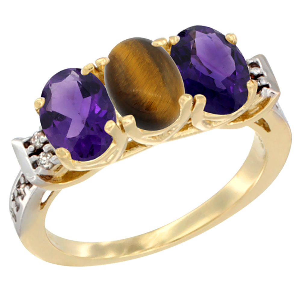 14K Yellow Gold Natural Tiger Eye & Amethyst Sides Ring 3-Stone 7x5 mm Oval Diamond Accent, sizes 5 - 10