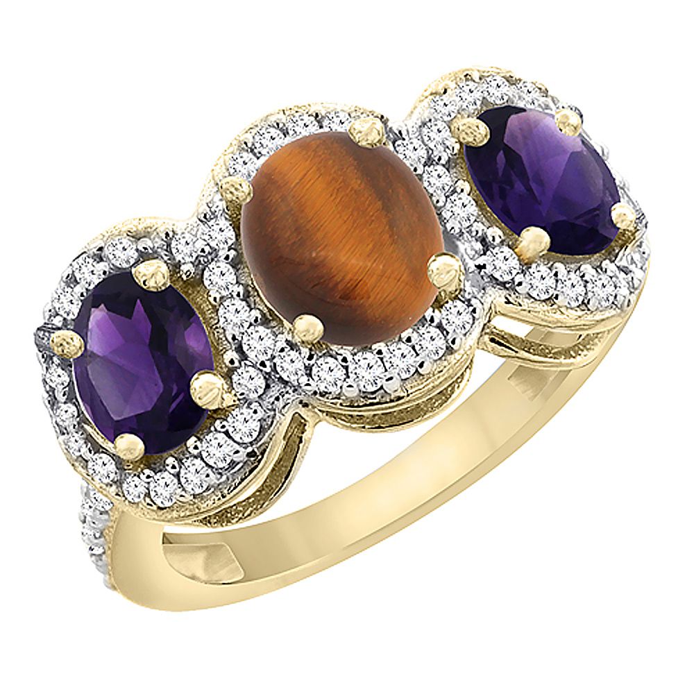 14K Yellow Gold Natural Tiger Eye & Amethyst 3-Stone Ring Oval Diamond Accent, sizes 5 - 10
