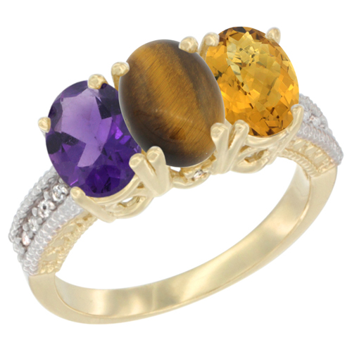 10K Yellow Gold Diamond Natural Amethyst, Tiger Eye & Whisky Quartz Ring Oval 3-Stone 7x5 mm,sizes 5-10