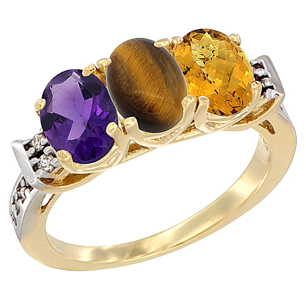 14K Yellow Gold Natural Amethyst, Tiger Eye & Whisky Quartz Ring 3-Stone 7x5 mm Oval Diamond Accent, sizes 5 - 10