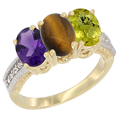 14K Yellow Gold Natural Amethyst, Tiger Eye & Lemon Quartz Ring 3-Stone 7x5 mm Oval Diamond Accent, sizes 5 - 10