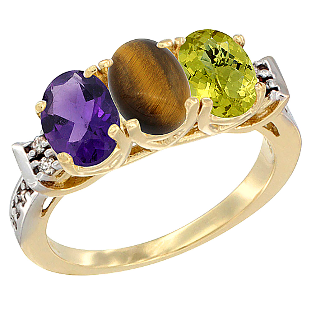 10K Yellow Gold Natural Amethyst, Tiger Eye & Lemon Quartz Ring 3-Stone Oval 7x5 mm Diamond Accent, sizes 5 - 10