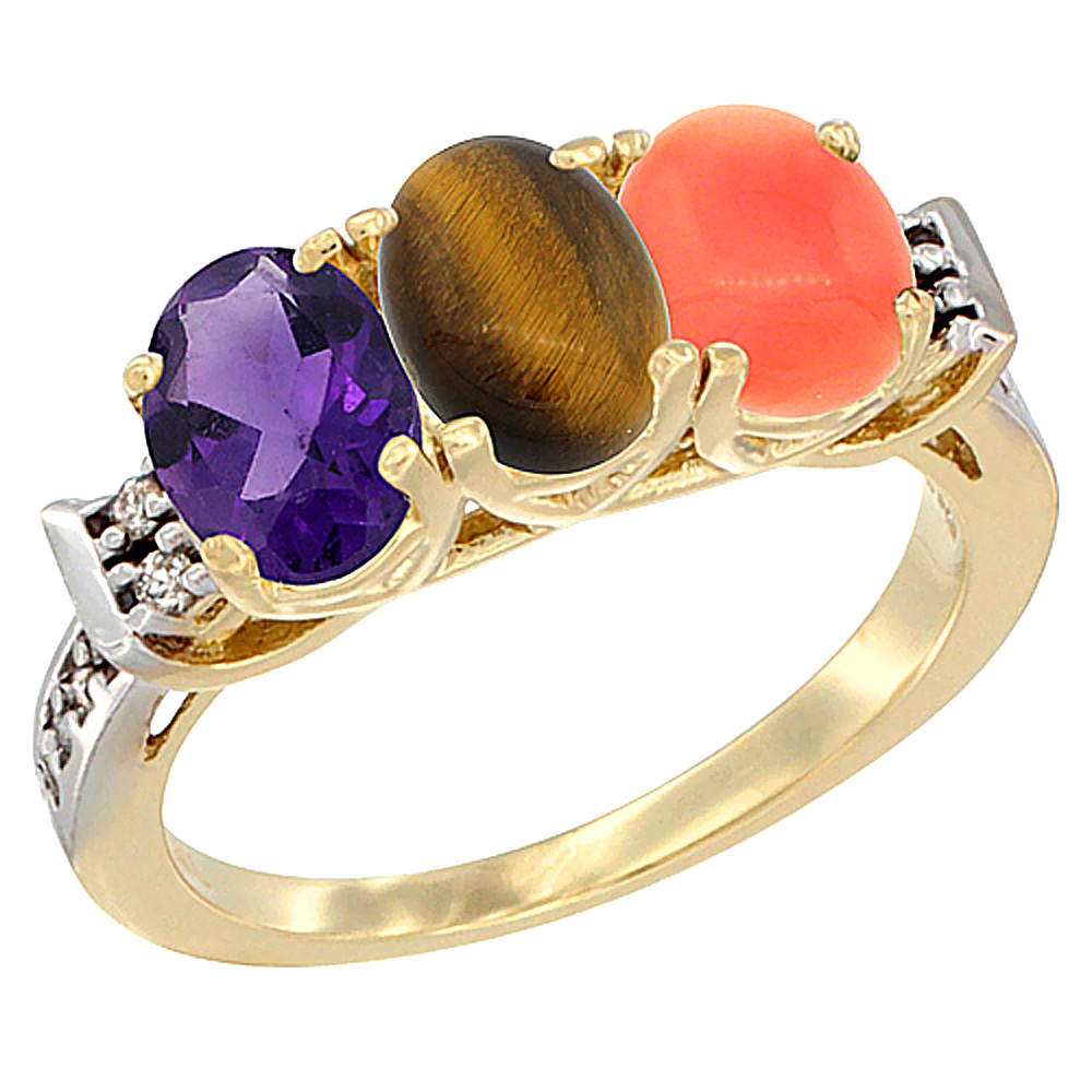 14K Yellow Gold Natural Amethyst, Tiger Eye & Coral Ring 3-Stone 7x5 mm Oval Diamond Accent, sizes 5 - 10