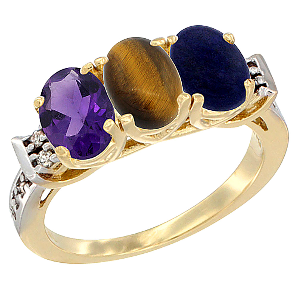 14K Yellow Gold Natural Amethyst, Tiger Eye & Lapis Ring 3-Stone 7x5 mm Oval Diamond Accent, sizes 5 - 10