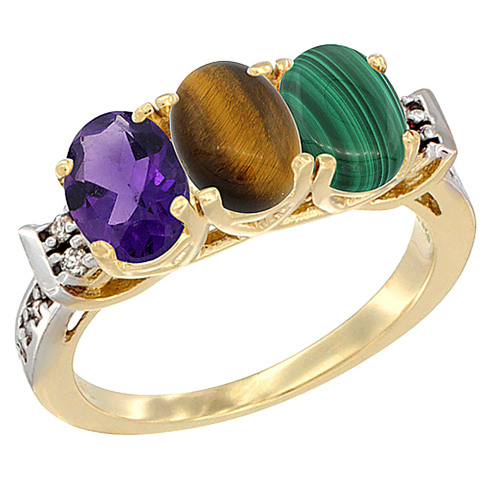 14K Yellow Gold Natural Amethyst, Tiger Eye & Malachite Ring 3-Stone 7x5 mm Oval Diamond Accent, sizes 5 - 10