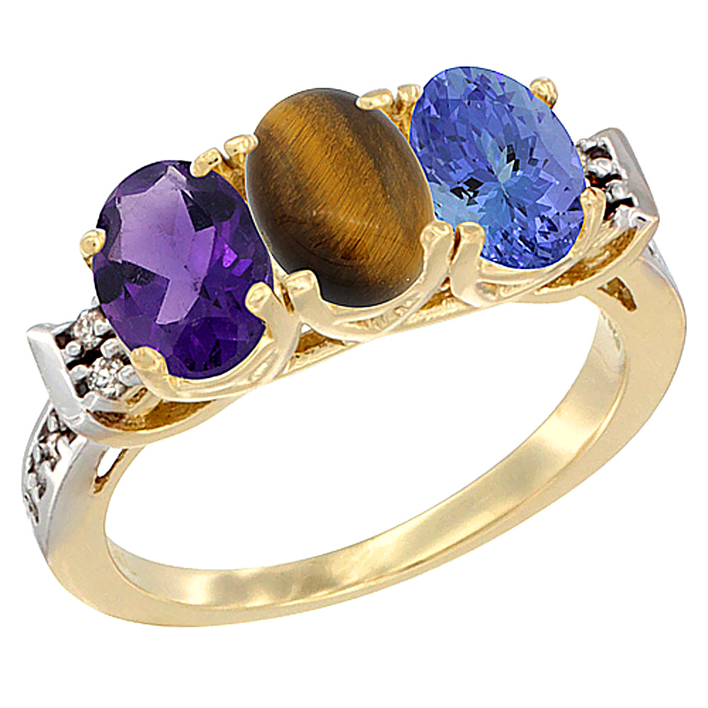 14K Yellow Gold Natural Amethyst, Tiger Eye & Tanzanite Ring 3-Stone 7x5 mm Oval Diamond Accent, sizes 5 - 10