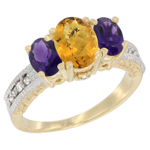 10K Yellow Gold Diamond Natural Whisky Quartz Ring Oval 3-stone with Amethyst, sizes 5 - 10