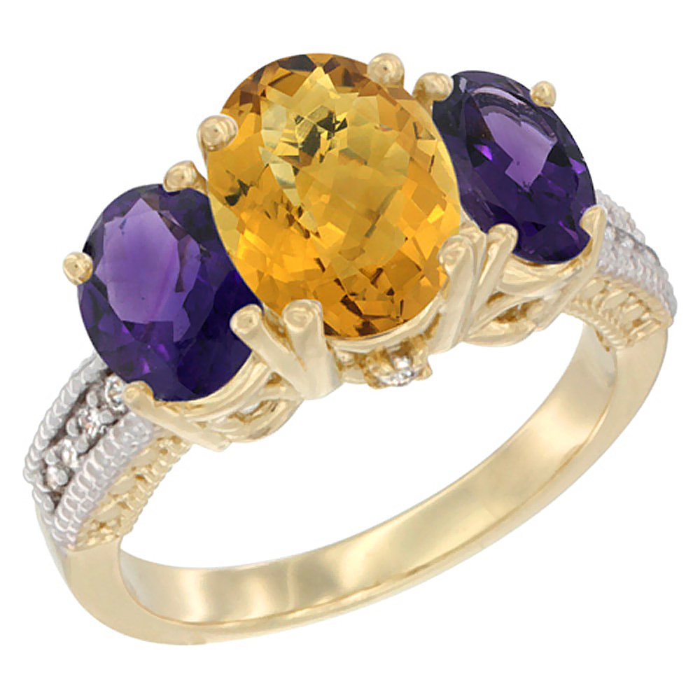 10K Yellow Gold Natural Whisky Quartz Ring Ladies 3-Stone 8x6 Oval with Amethyst Sides Diamond Accent, sizes 5 - 10
