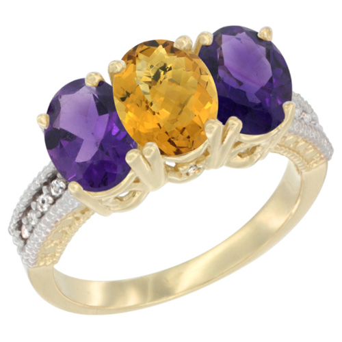 10K Yellow Gold Diamond Natural Whisky Quartz & Amethyst Ring Oval 3-Stone 7x5 mm,sizes 5-10