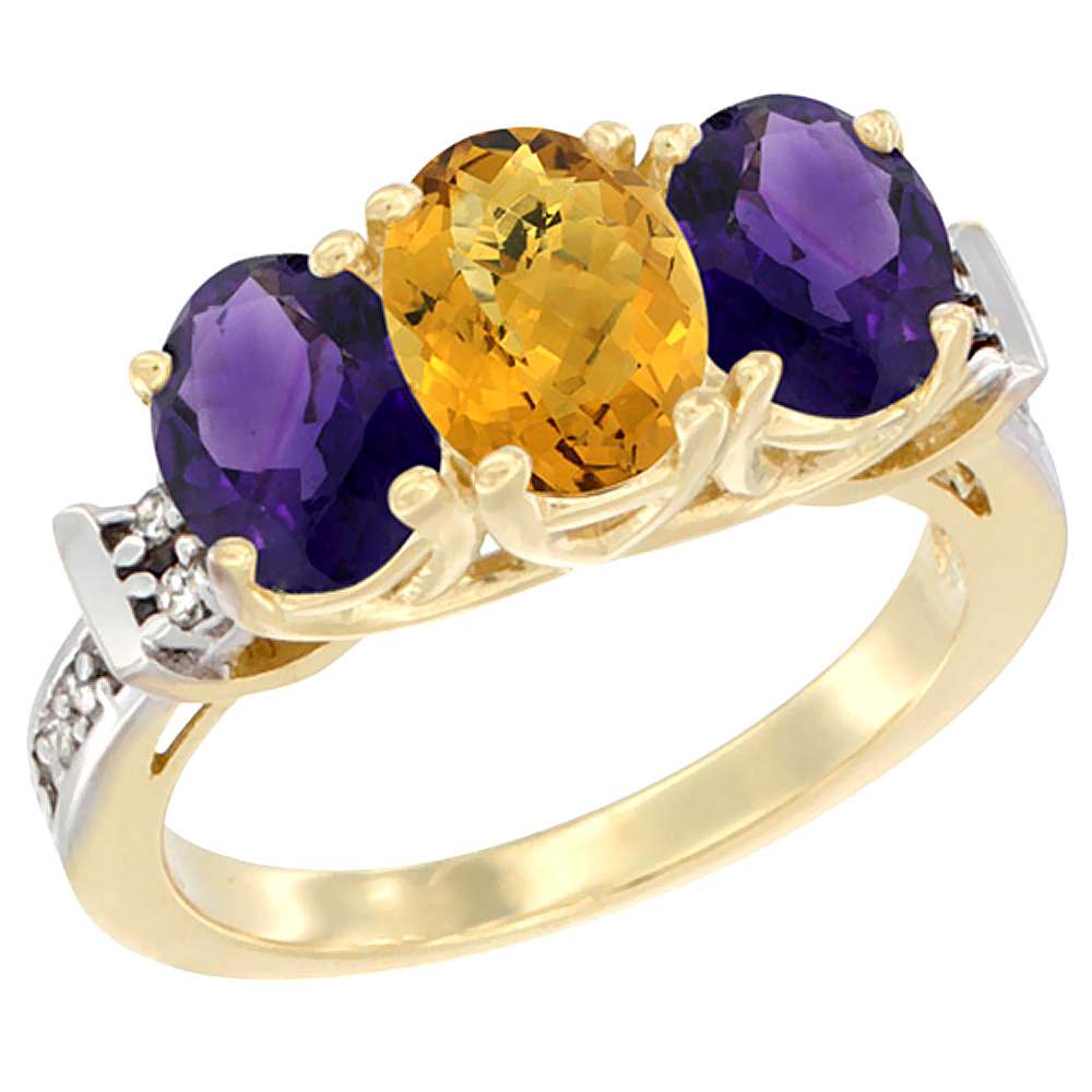 10K Yellow Gold Natural Whisky Quartz & Amethyst Sides Ring 3-Stone Oval Diamond Accent, sizes 5 - 10