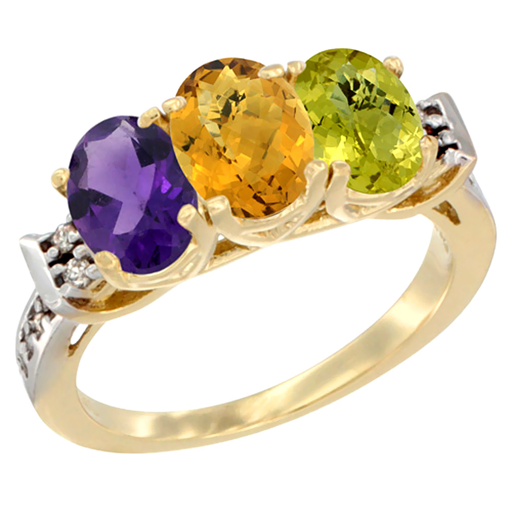 10K Yellow Gold Natural Amethyst, Whisky Quartz & Lemon Quartz Ring 3-Stone Oval 7x5 mm Diamond Accent, sizes 5 - 10