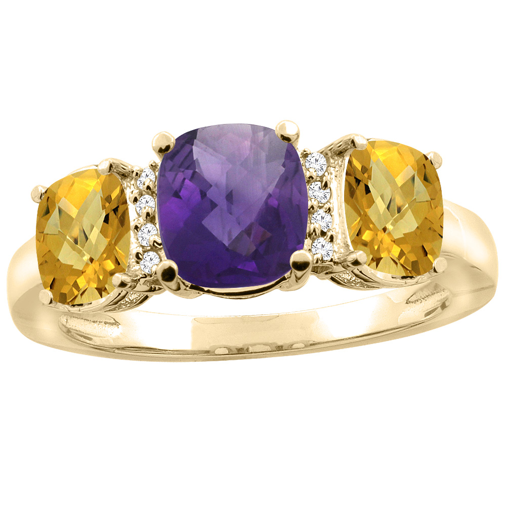 10K Yellow Gold Natural Amethyst & Whisky Quartz 3-stone Ring Cushion 8x6mm Diamond Accent, sizes 5 - 10