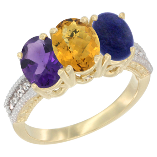 10K Yellow Gold Diamond Natural Amethyst, Whisky Quartz & Lapis Ring Oval 3-Stone 7x5 mm,sizes 5-10