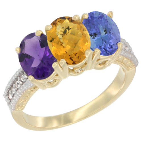 10K Yellow Gold Diamond Natural Amethyst, Whisky Quartz & Tanzanite Ring Oval 3-Stone 7x5 mm,sizes 5-10