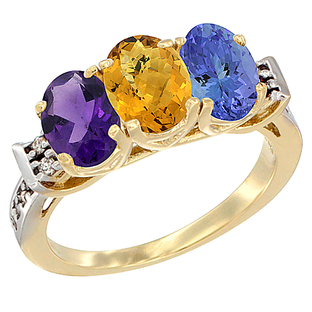 10K Yellow Gold Natural Amethyst, Whisky Quartz & Tanzanite Ring 3-Stone Oval 7x5 mm Diamond Accent, sizes 5 - 10