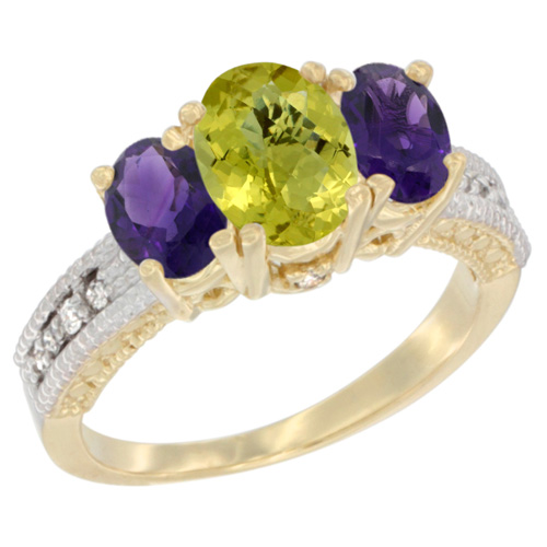 14K Yellow Gold Diamond Natural Lemon Quartz Ring Oval 3-stone with Amethyst, sizes 5 - 10