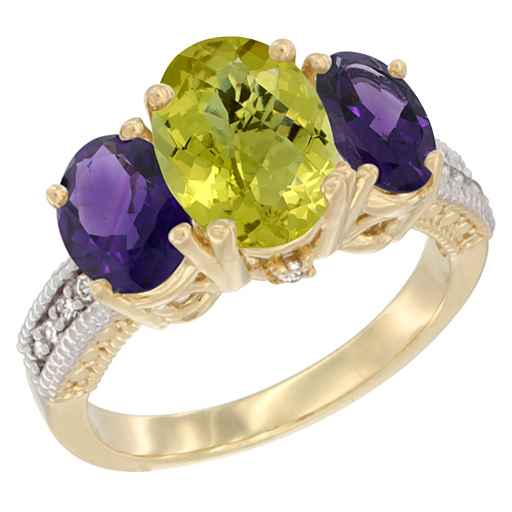 10K Yellow Gold Natural Lemon Quartz Ring Ladies 3-Stone 8x6 Oval with Amethyst Sides Diamond Accent, sizes 5 - 10