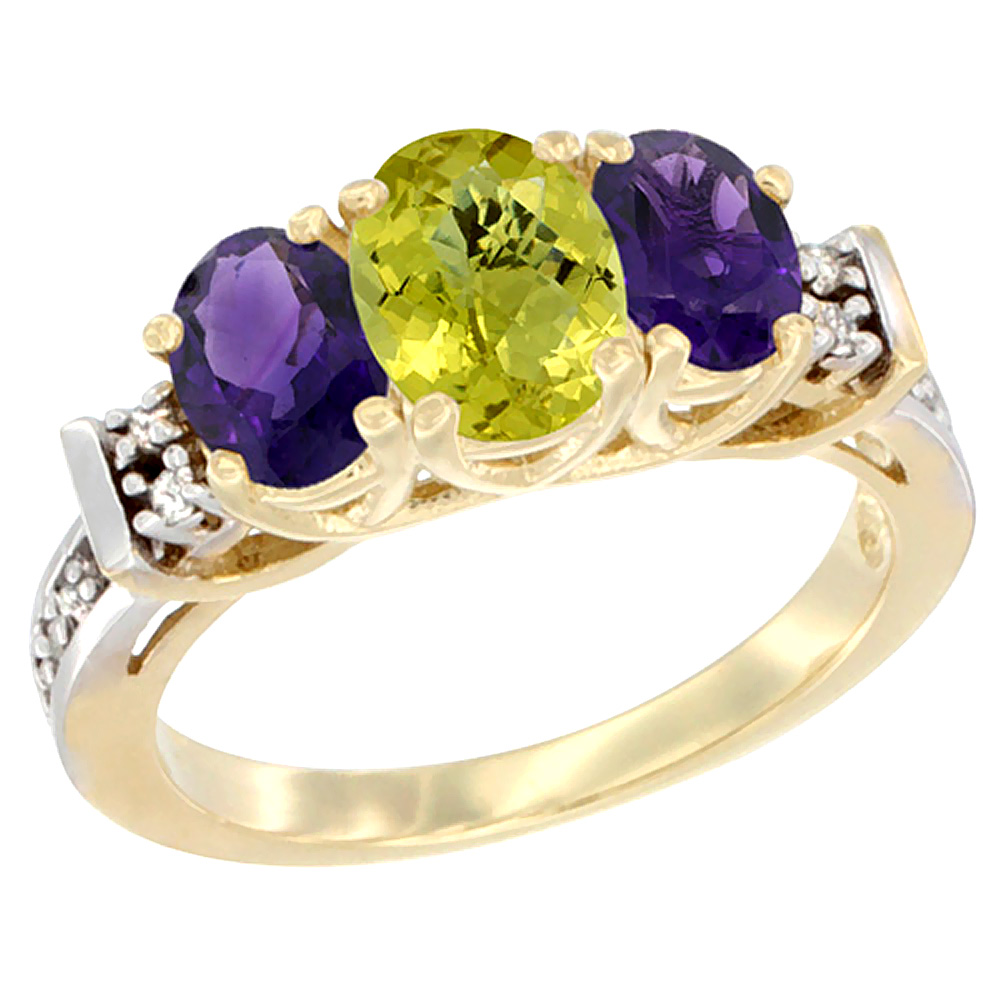 10K Yellow Gold Natural Lemon Quartz & Amethyst Ring 3-Stone Oval Diamond Accent