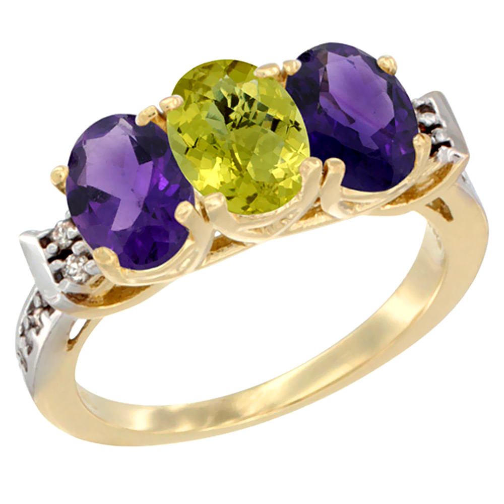 14K Yellow Gold Natural Lemon Quartz & Amethyst Sides Ring 3-Stone 7x5 mm Oval Diamond Accent, sizes 5 - 10