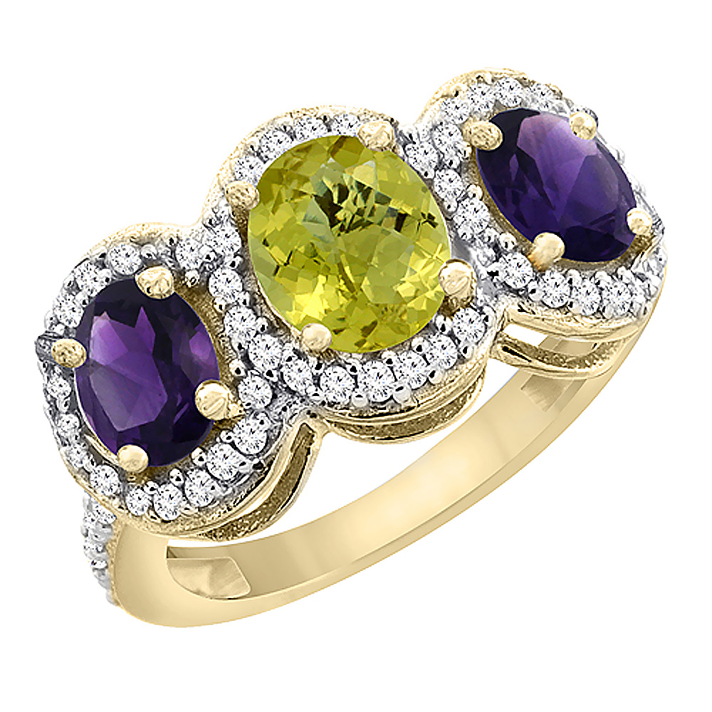 10K Yellow Gold Natural Lemon Quartz & Amethyst 3-Stone Ring Oval Diamond Accent, sizes 5 - 10
