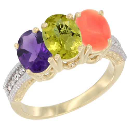 10K Yellow Gold Diamond Natural Amethyst, Lemon Quartz & Coral Ring Oval 3-Stone 7x5 mm,sizes 5-10