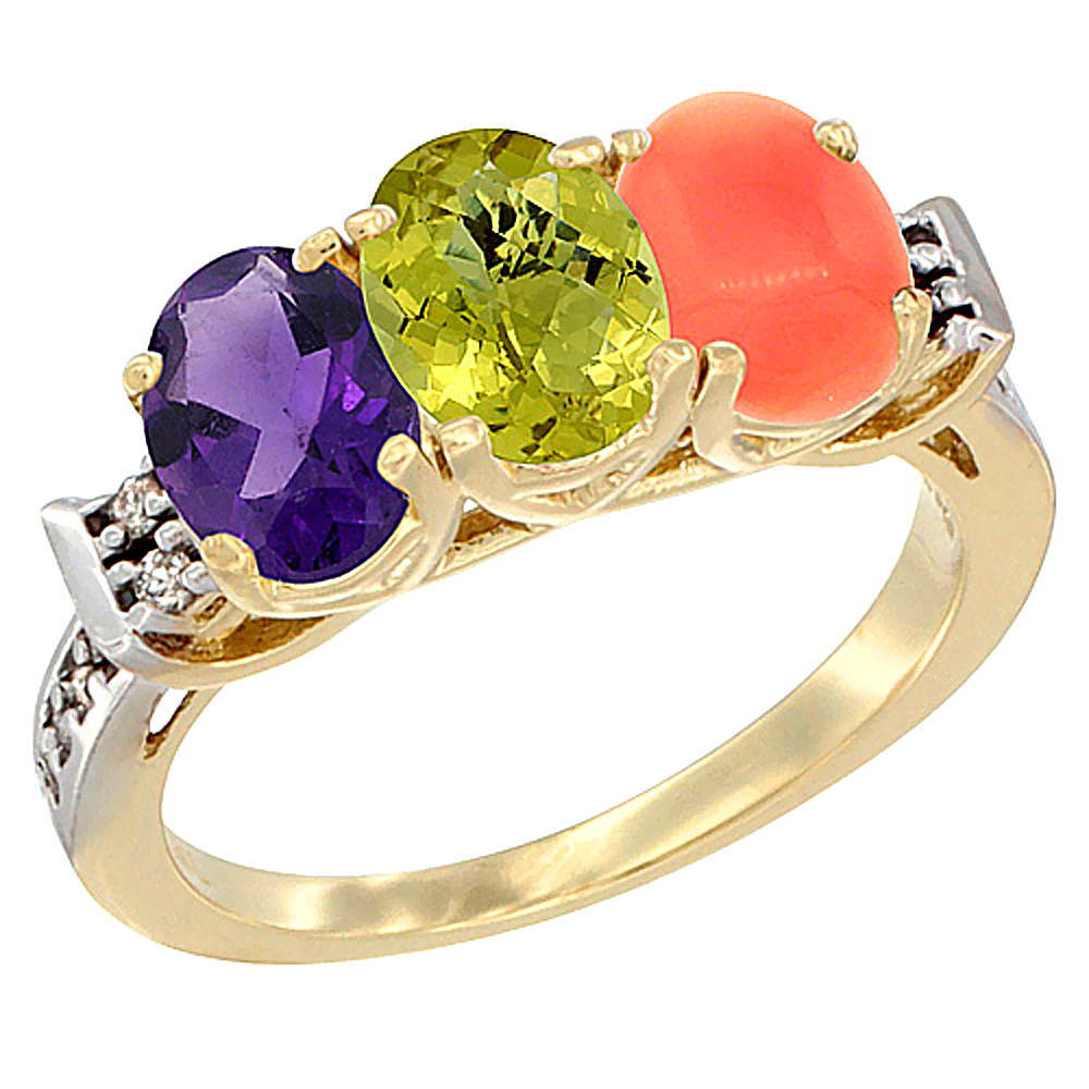 14K Yellow Gold Natural Amethyst, Lemon Quartz & Coral Ring 3-Stone 7x5 mm Oval Diamond Accent, sizes 5 - 10