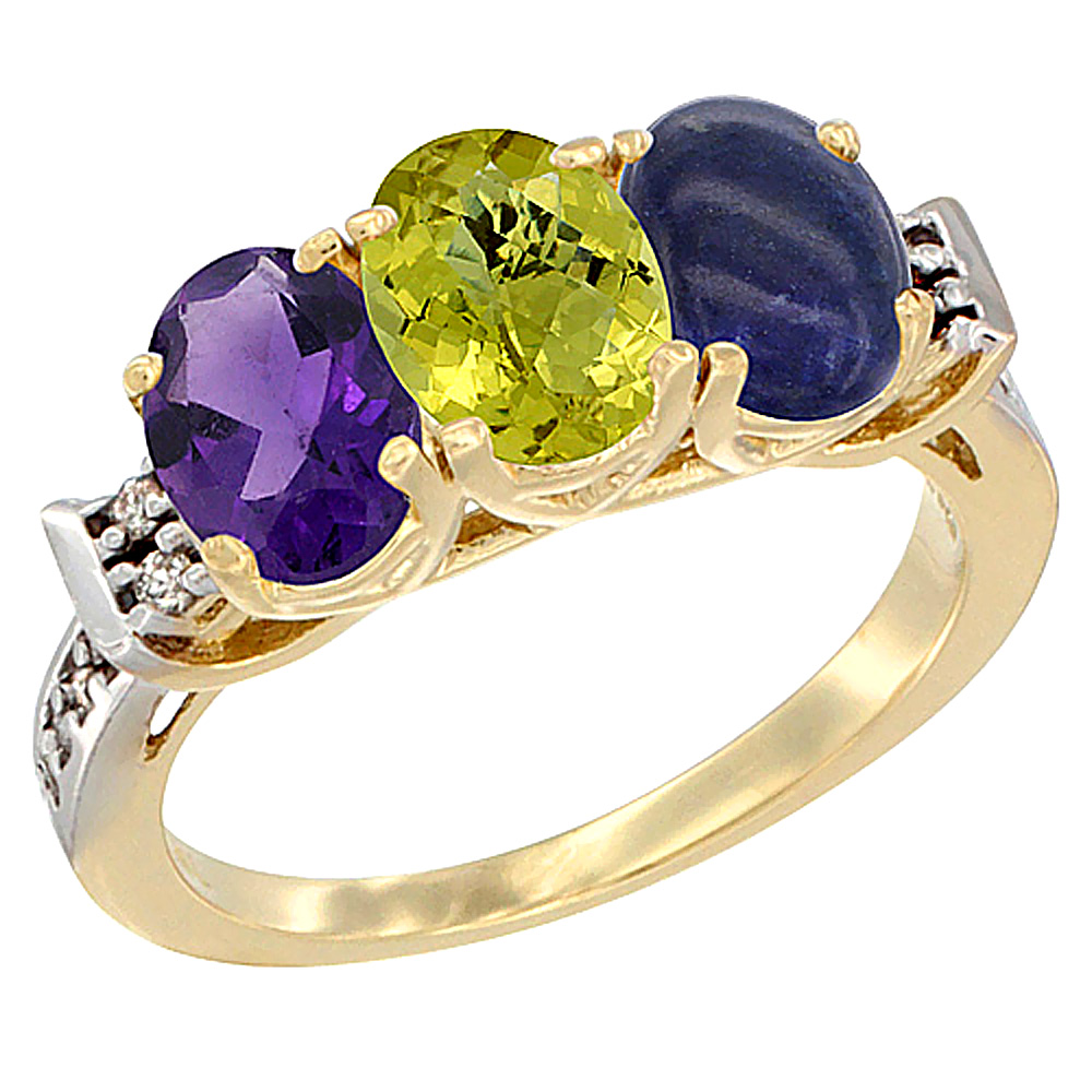 10K Yellow Gold Natural Amethyst, Lemon Quartz & Lapis Ring 3-Stone Oval 7x5 mm Diamond Accent, sizes 5 - 10