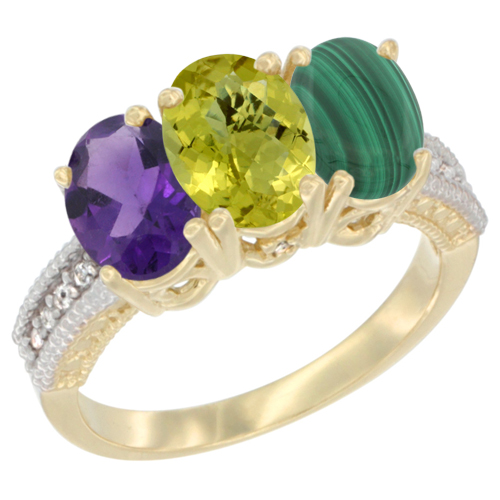 14K Yellow Gold Natural Amethyst, Lemon Quartz & Malachite Ring 3-Stone 7x5 mm Oval Diamond Accent, sizes 5 - 10