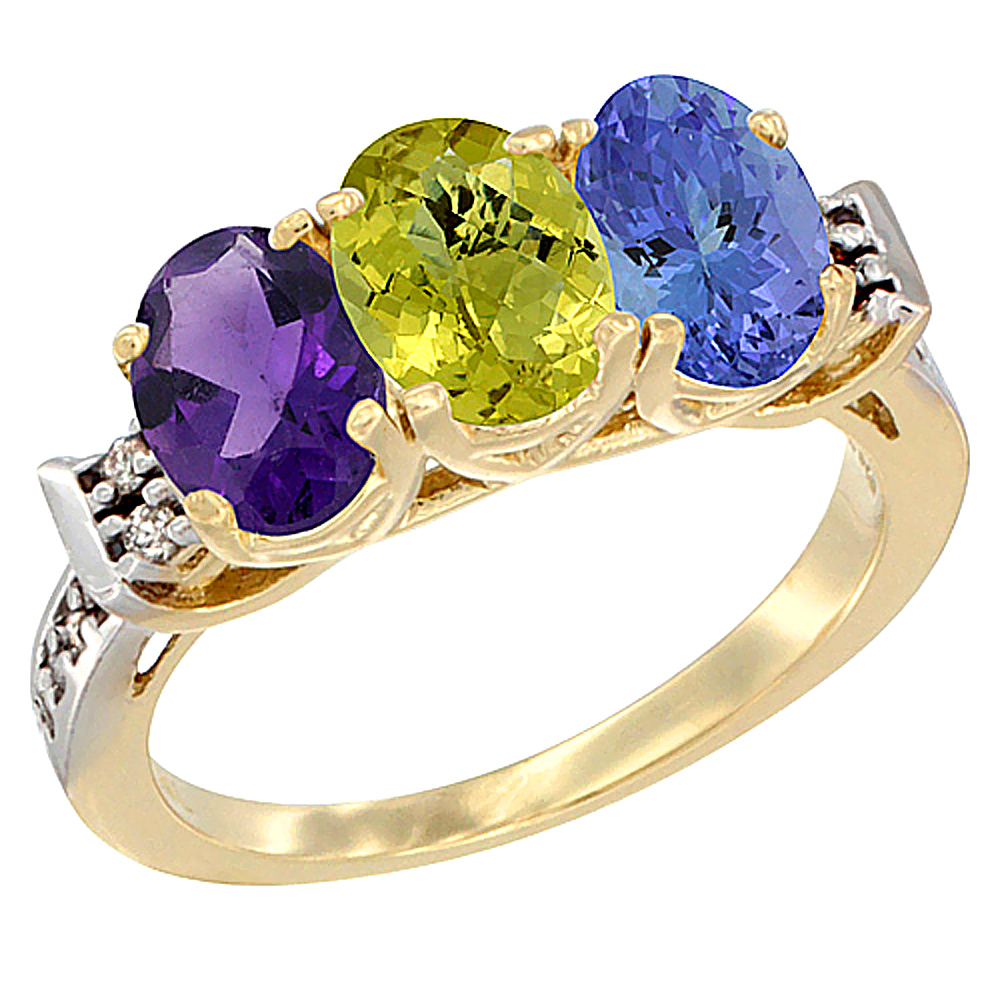 10K Yellow Gold Natural Amethyst, Lemon Quartz & Tanzanite Ring 3-Stone Oval 7x5 mm Diamond Accent, sizes 5 - 10