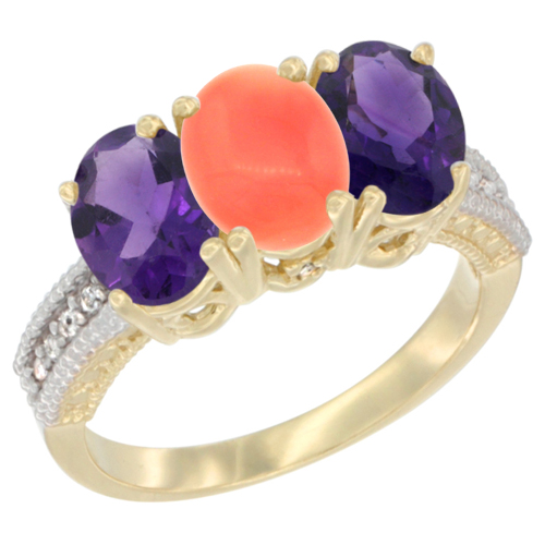 10K Yellow Gold Diamond Natural Coral & Amethyst Ring Oval 3-Stone 7x5 mm,sizes 5-10