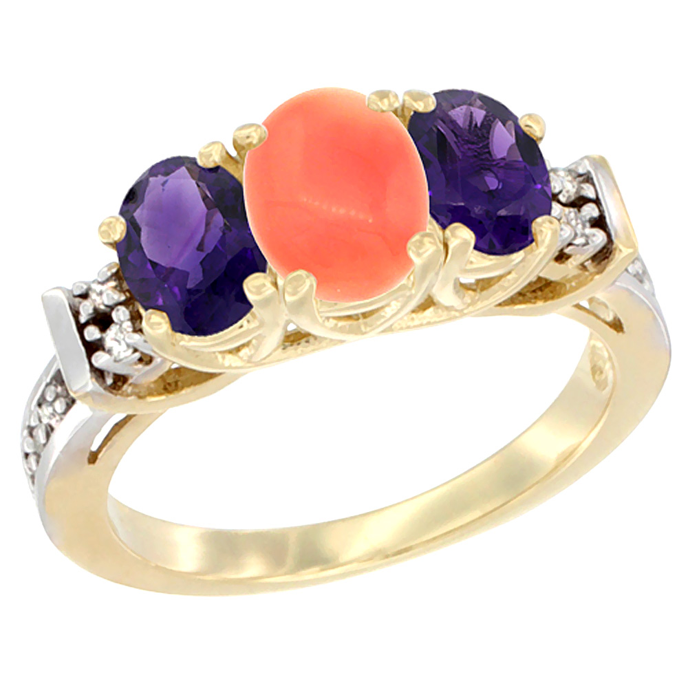 14K Yellow Gold Natural Coral & Amethyst Ring 3-Stone Oval Diamond Accent
