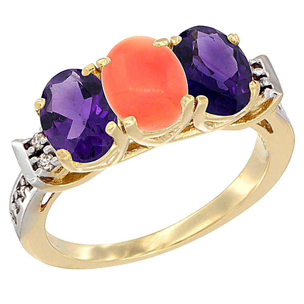 10K Yellow Gold Natural Coral & Amethyst Sides Ring 3-Stone Oval 7x5 mm Diamond Accent, sizes 5 - 10