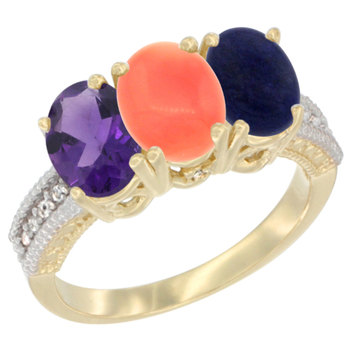 14K Yellow Gold Natural Amethyst, Coral & Lapis Ring 3-Stone 7x5 mm Oval Diamond Accent, sizes 5 - 10
