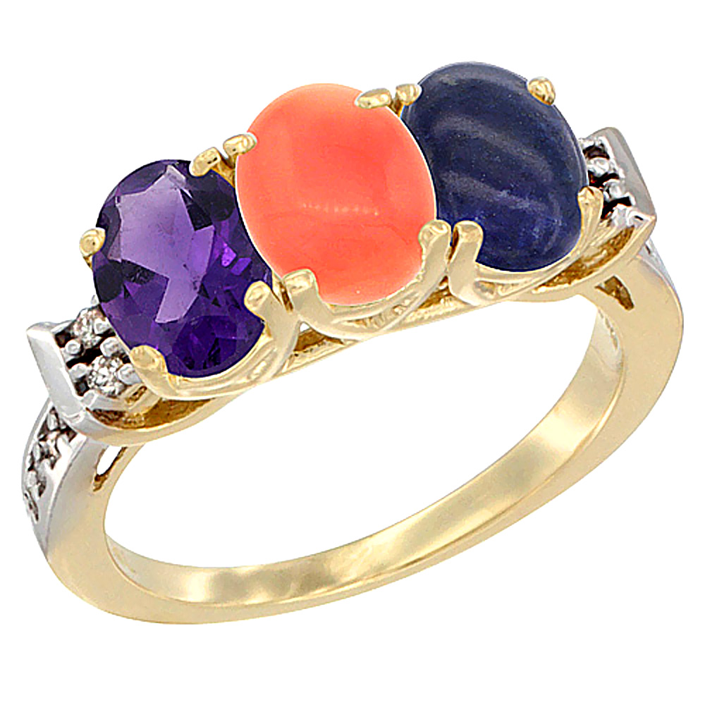 10K Yellow Gold Natural Amethyst, Coral & Lapis Ring 3-Stone Oval 7x5 mm Diamond Accent, sizes 5 - 10