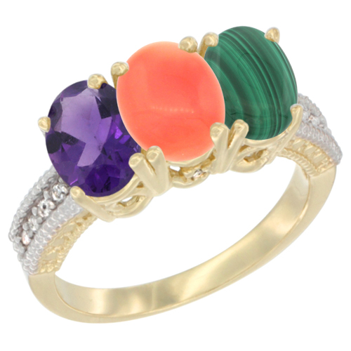 10K Yellow Gold Diamond Natural Amethyst, Coral & Malachite Ring Oval 3-Stone 7x5 mm,sizes 5-10